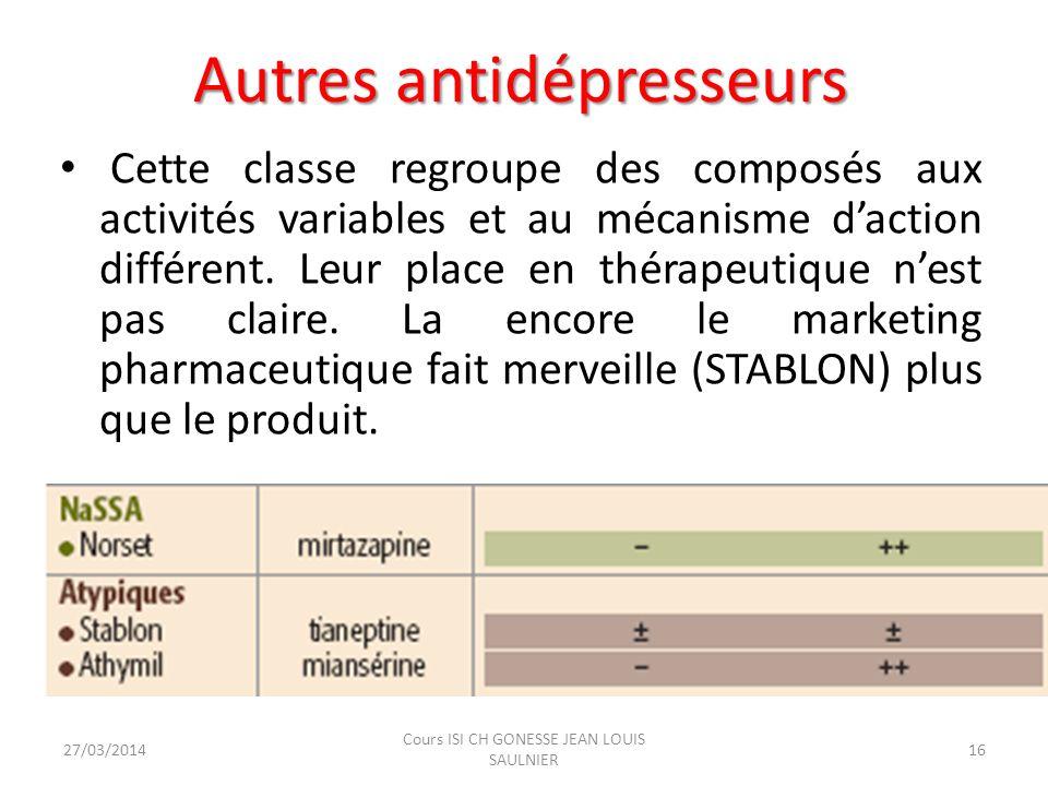 Autres antidépresseurs Cette classe regroupe des composés aux activités variables et au mécanisme daction différent. Leur place en thérapeutique nest