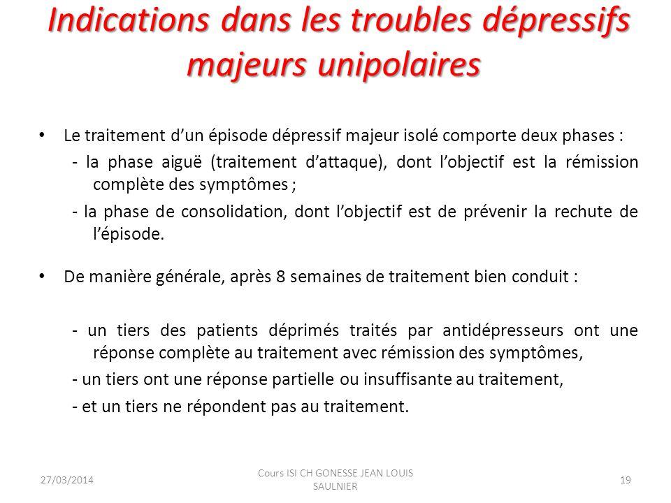 Indications dans les troubles dépressifs majeurs unipolaires Indications dans les troubles dépressifs majeurs unipolaires Le traitement dun épisode dé