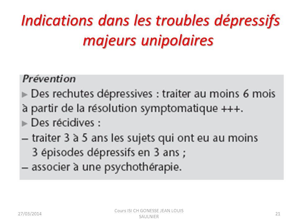 Autres troubles psychiatriques 27/03/201422 Cours ISI CH GONESSE JEAN LOUIS SAULNIER