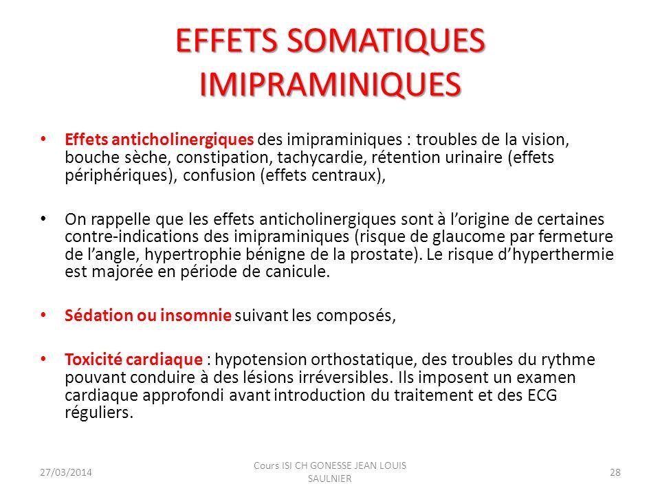 EFFETS SOMATIQUES IMIPRAMINIQUES Effets anticholinergiques des imipraminiques : troubles de la vision, bouche sèche, constipation, tachycardie, rétent