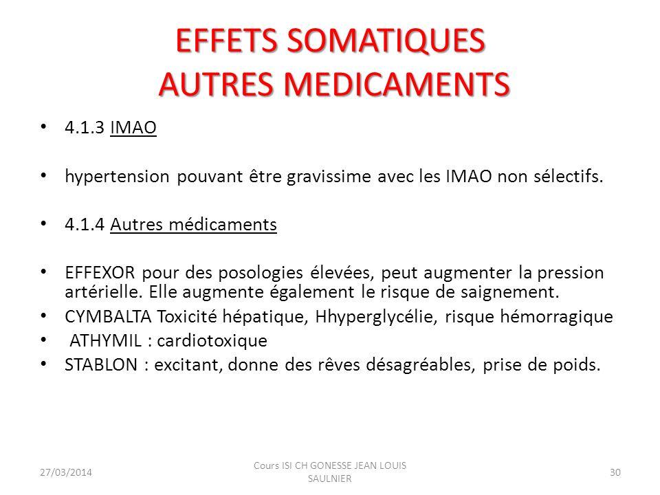 4.1.3 IMAO hypertension pouvant être gravissime avec les IMAO non sélectifs. 4.1.4 Autres médicaments EFFEXOR pour des posologies élevées, peut augmen