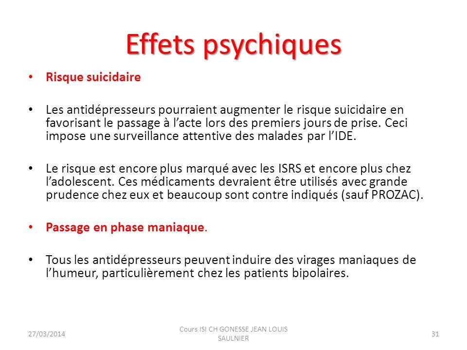 Effets psychiques Risque suicidaire Les antidépresseurs pourraient augmenter le risque suicidaire en favorisant le passage à lacte lors des premiers j