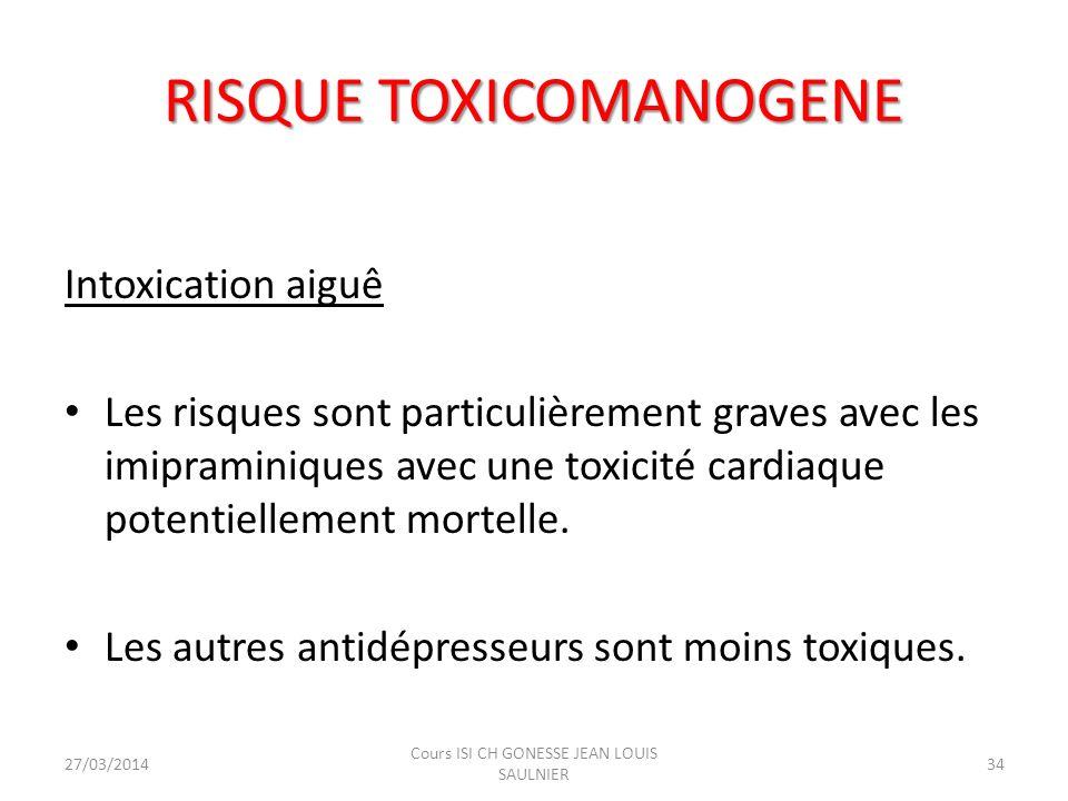 RISQUE TOXICOMANOGENE Intoxication aiguê Les risques sont particulièrement graves avec les imipraminiques avec une toxicité cardiaque potentiellement