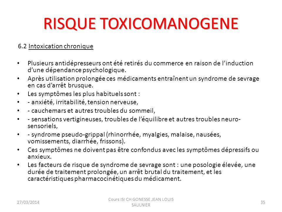 6.2 Intoxication chronique Plusieurs antidépresseurs ont été retirés du commerce en raison de linduction dune dépendance psychologique. Après utilisat