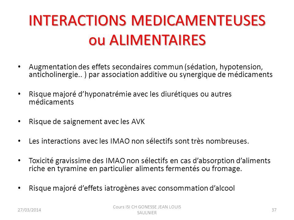 INTERACTIONS MEDICAMENTEUSES ou ALIMENTAIRES Augmentation des effets secondaires commun (sédation, hypotension, anticholinergie.. ) par association ad