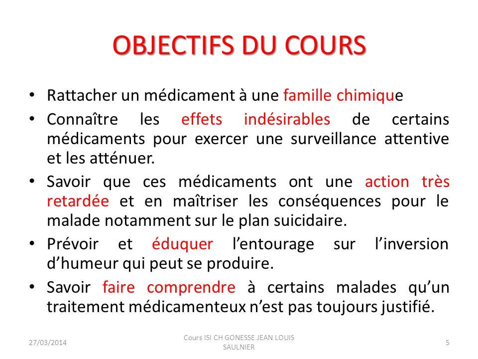 OBJECTIFS DU COURS Rattacher un médicament à une famille chimique Connaître les effets indésirables de certains médicaments pour exercer une surveilla