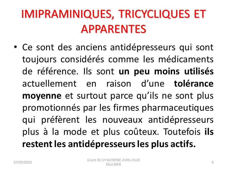 IMIPRAMINIQUES, TRICYCLIQUES ET APPARENTES Ce sont des anciens antidépresseurs qui sont toujours considérés comme les médicaments de référence. Ils so