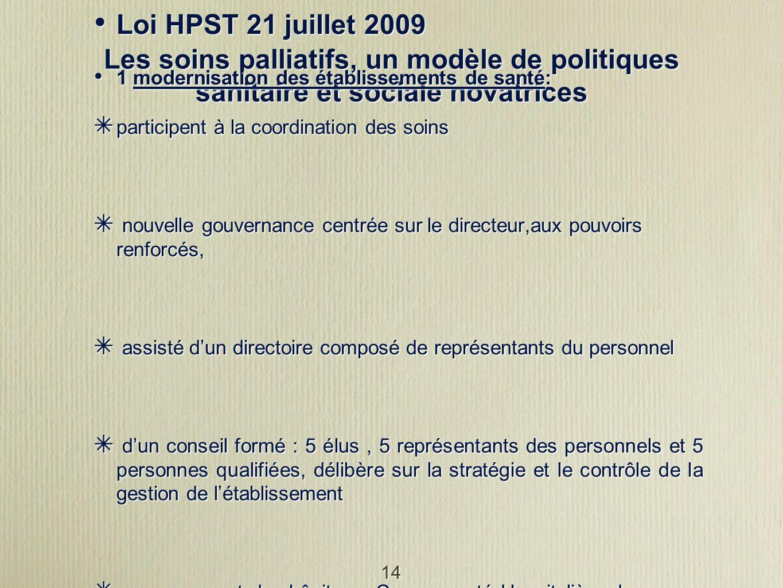 14 Les soins palliatifs, un modèle de politiques sanitaire et sociale novatrices Loi HPST 21 juillet 2009 1 modernisation des établissements de santé: