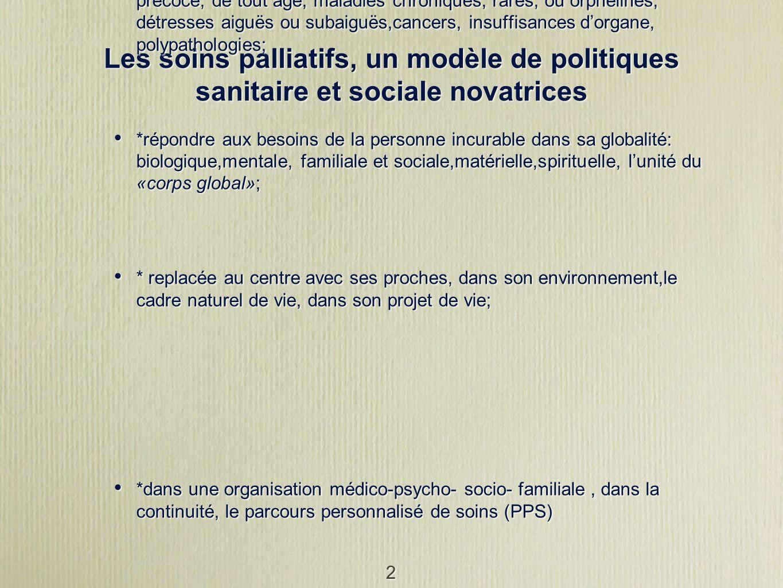 2 Les soins palliatifs, un modèle de politiques sanitaire et sociale novatrices Recentre la personne malade au centre des préoccupations. Objectif pre
