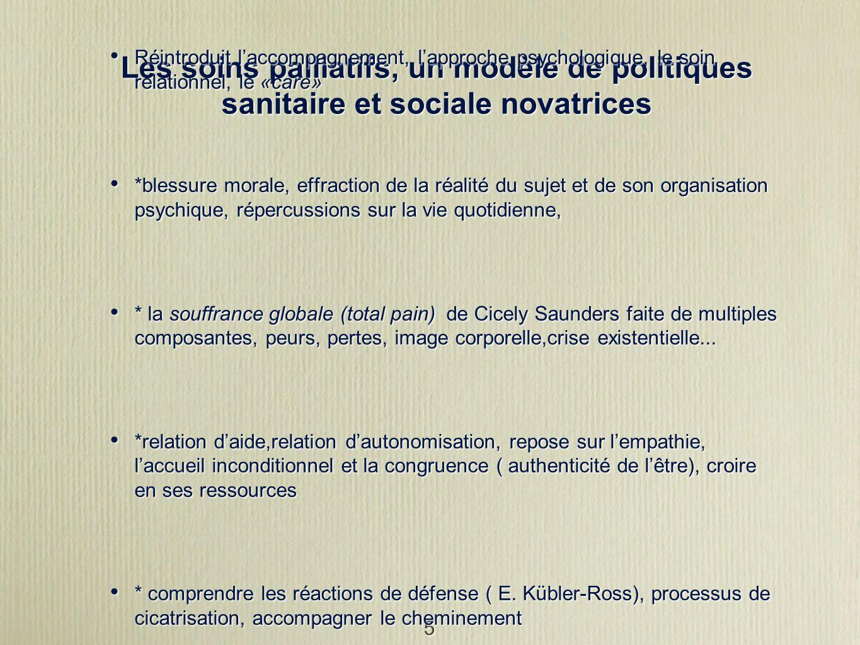 5 Les soins palliatifs, un modèle de politiques sanitaire et sociale novatrices Réintroduit laccompagnement, lapproche psychologique, le soin relation