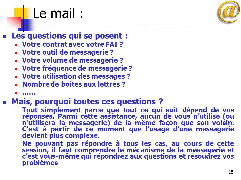15 Le mail : Les questions qui se posent : Votre contrat avec votre FAI ? Votre outil de messagerie ? Votre volume de messagerie ? Votre fréquence de