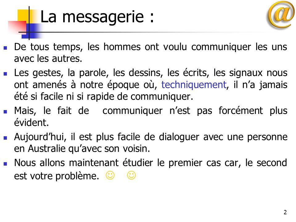 2 La messagerie : De tous temps, les hommes ont voulu communiquer les uns avec les autres. Les gestes, la parole, les dessins, les écrits, les signaux