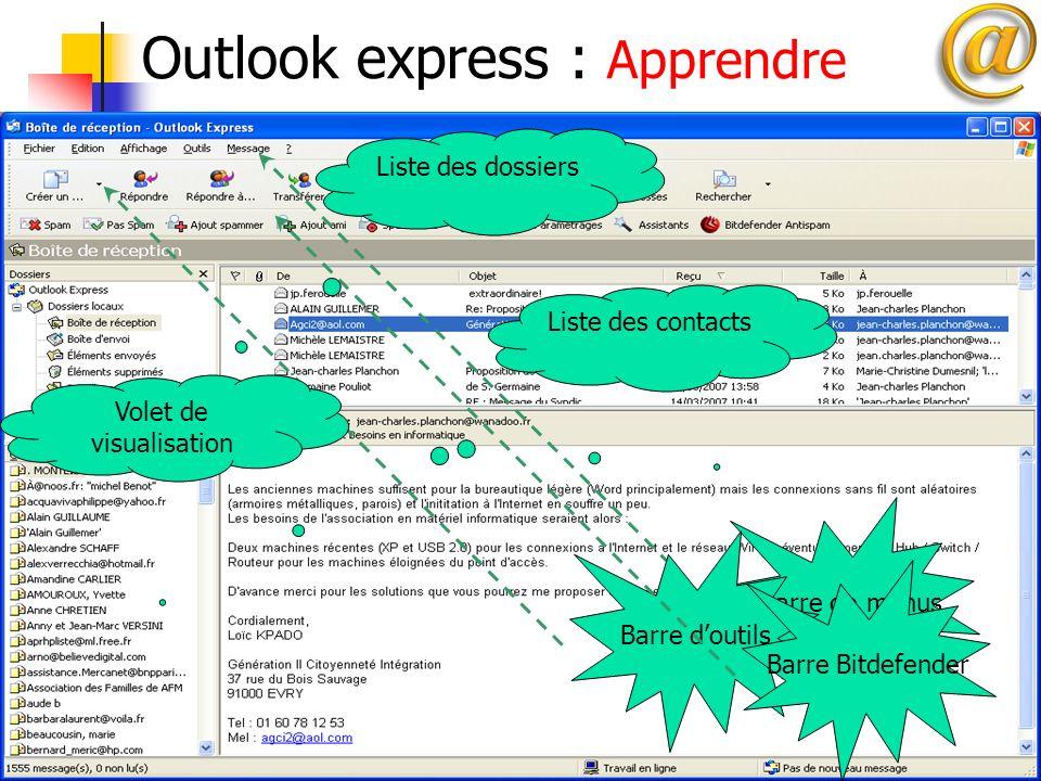 20 Outlook express : Apprendre Barre de menusBarre doutilsBarre Bitdefender Liste des dossiers Liste des contacts Volet de visualisation