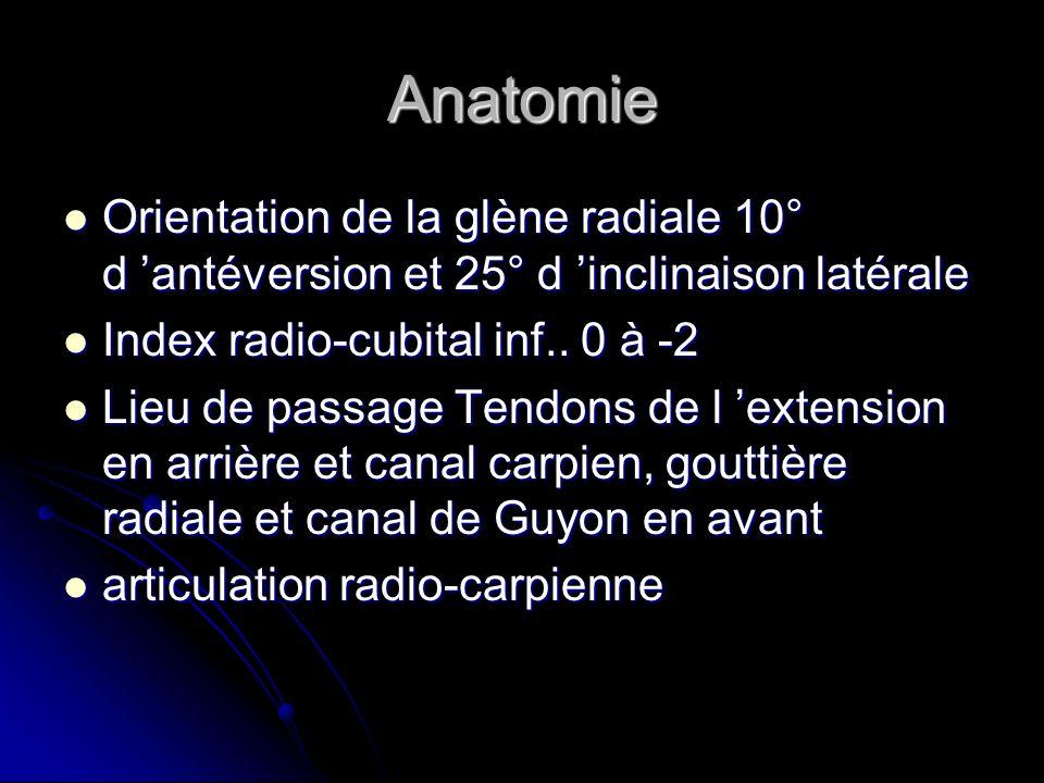 Anatomie Orientation de la glène radiale 10° d antéversion et 25° d inclinaison latérale Orientation de la glène radiale 10° d antéversion et 25° d in