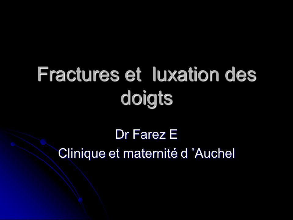 Fractures et luxation des doigts Dr Farez E Clinique et maternité d Auchel