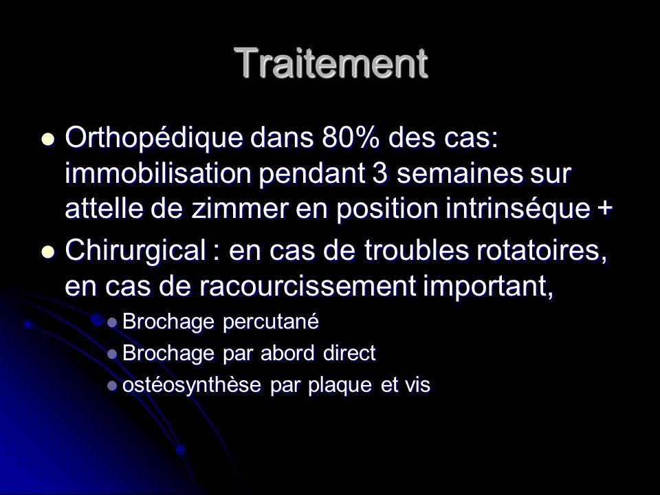 Traitement Orthopédique dans 80% des cas: immobilisation pendant 3 semaines sur attelle de zimmer en position intrinséque + Orthopédique dans 80% des