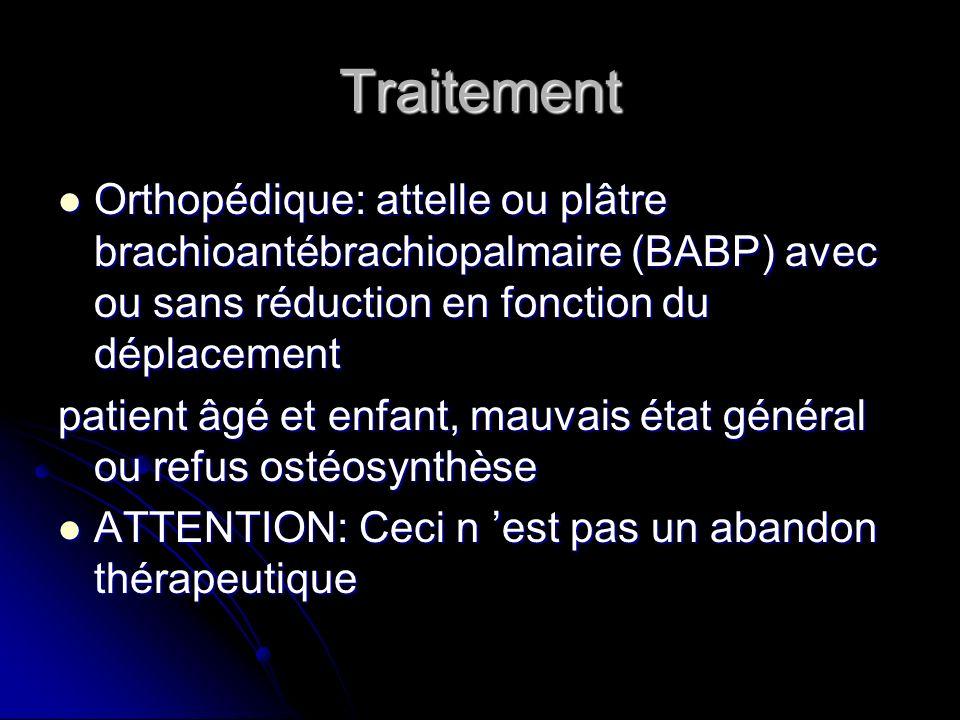 Traitement Orthopédique: attelle ou plâtre brachioantébrachiopalmaire (BABP) avec ou sans réduction en fonction du déplacement Orthopédique: attelle o