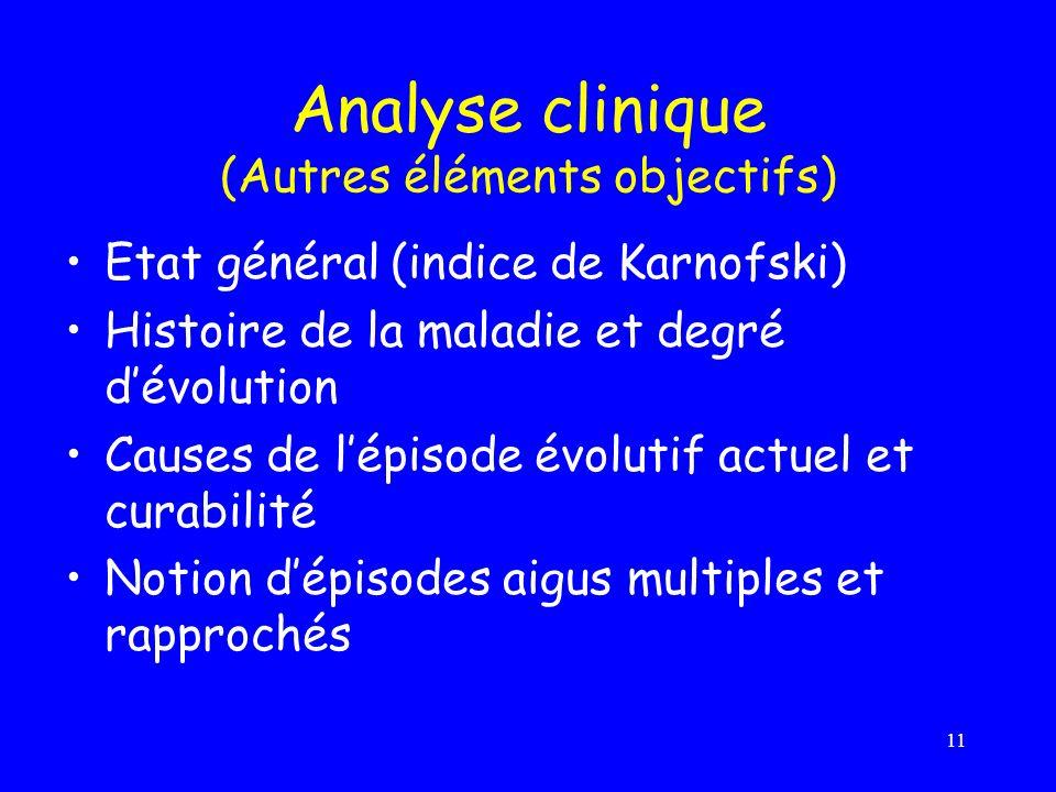 11 Analyse clinique (Autres éléments objectifs) Etat général (indice de Karnofski) Histoire de la maladie et degré dévolution Causes de lépisode évolu