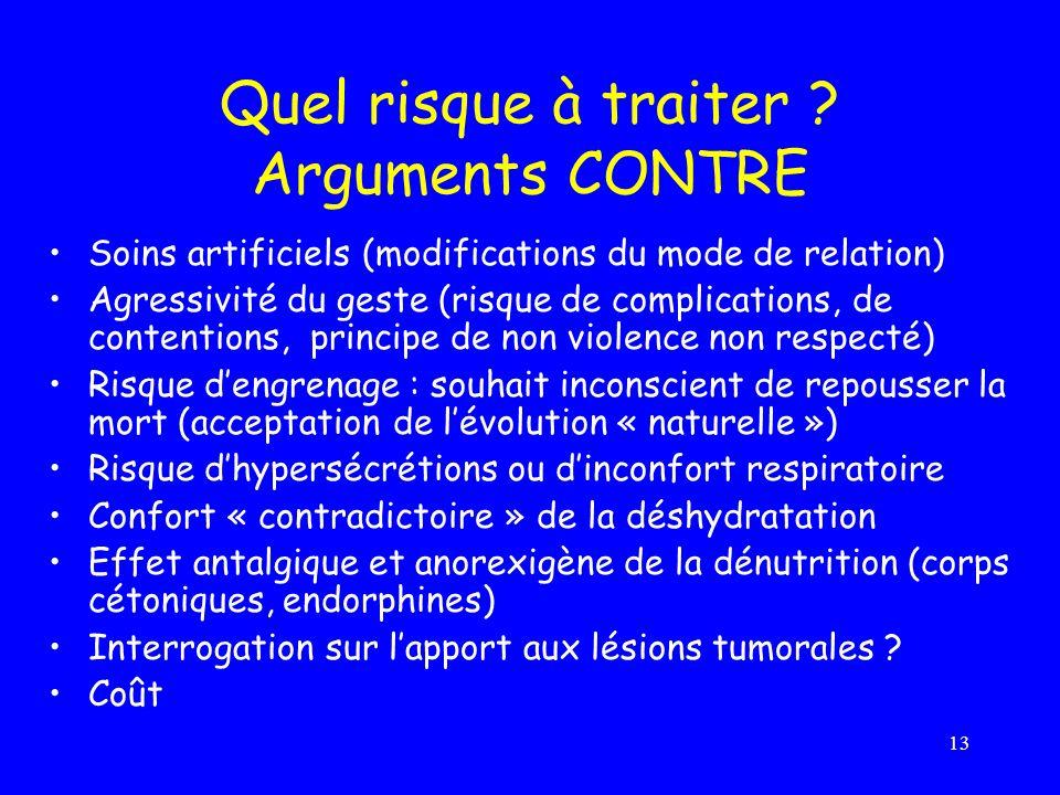 13 Quel risque à traiter ? Arguments CONTRE Soins artificiels (modifications du mode de relation) Agressivité du geste (risque de complications, de co