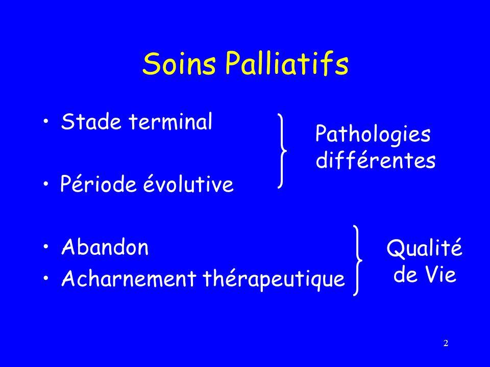 2 Soins Palliatifs Stade terminal Période évolutive Abandon Acharnement thérapeutique Pathologies différentes Qualité de Vie