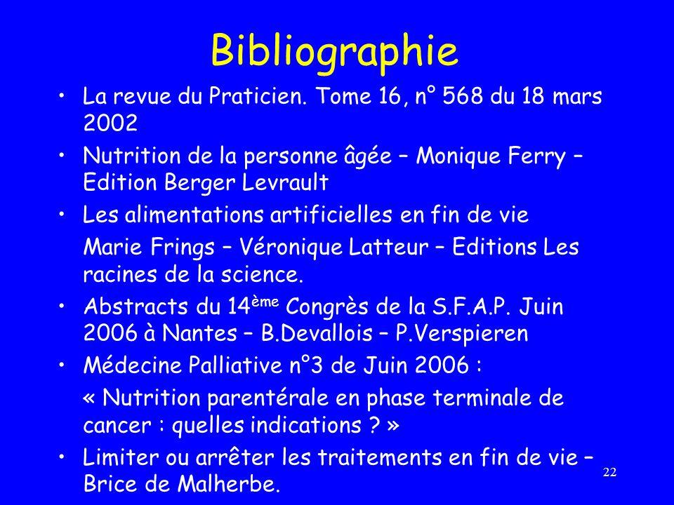 22 Bibliographie La revue du Praticien. Tome 16, n° 568 du 18 mars 2002 Nutrition de la personne âgée – Monique Ferry – Edition Berger Levrault Les al