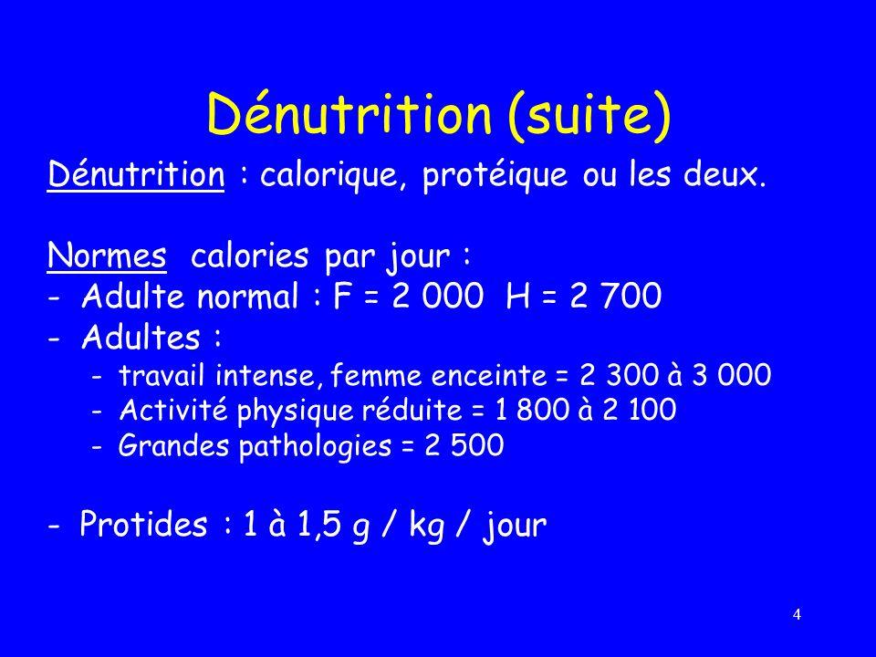 4 Dénutrition (suite) Dénutrition : calorique, protéique ou les deux. Normes calories par jour : -Adulte normal : F = 2 000 H = 2 700 -Adultes : -trav