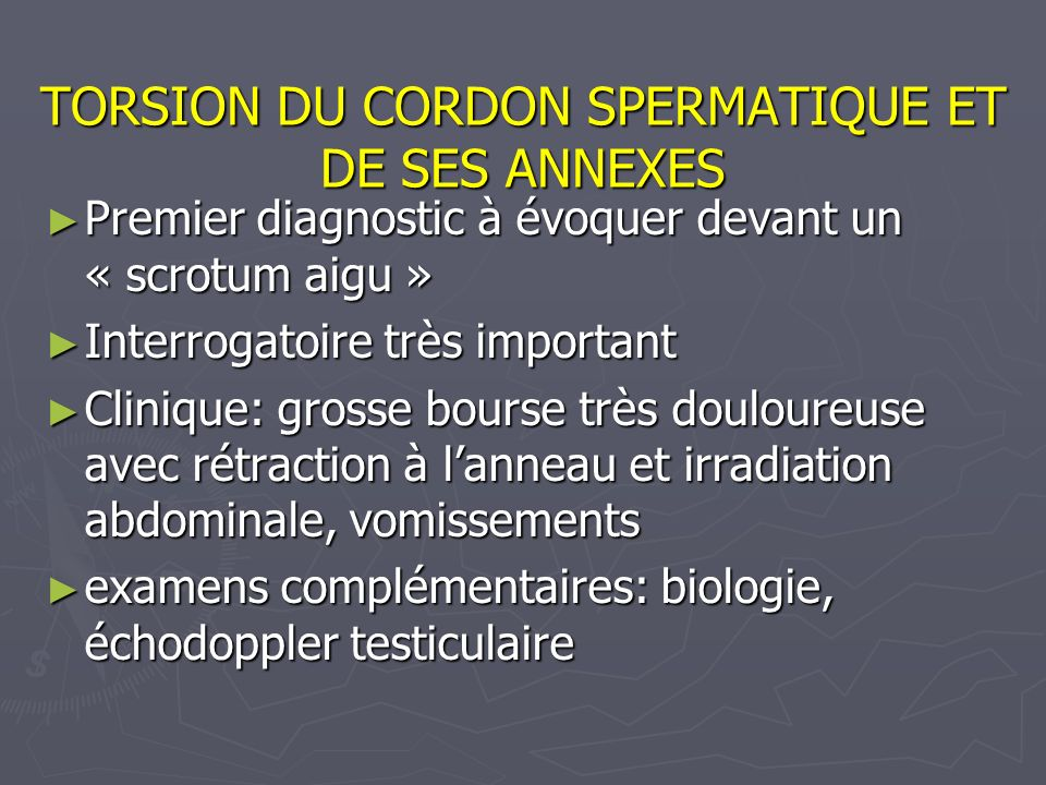 TORSION DU CORDON SPERMATIQUE ET DE SES ANNEXES Premier diagnostic à évoquer devant un « scrotum aigu » Premier diagnostic à évoquer devant un « scrot