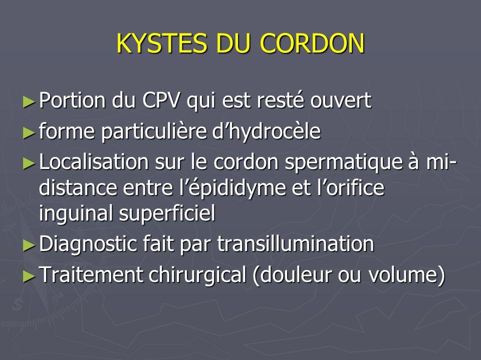 KYSTES DU CORDON Portion du CPV qui est resté ouvert Portion du CPV qui est resté ouvert forme particulière dhydrocèle forme particulière dhydrocèle L