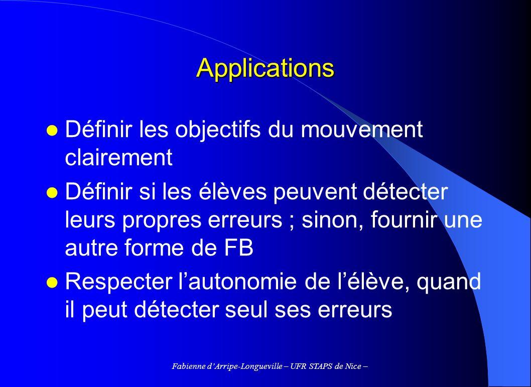 Fabienne dArripe-Longueville – UFR STAPS de Nice – Applications Définir les objectifs du mouvement clairement Définir si les élèves peuvent détecter l