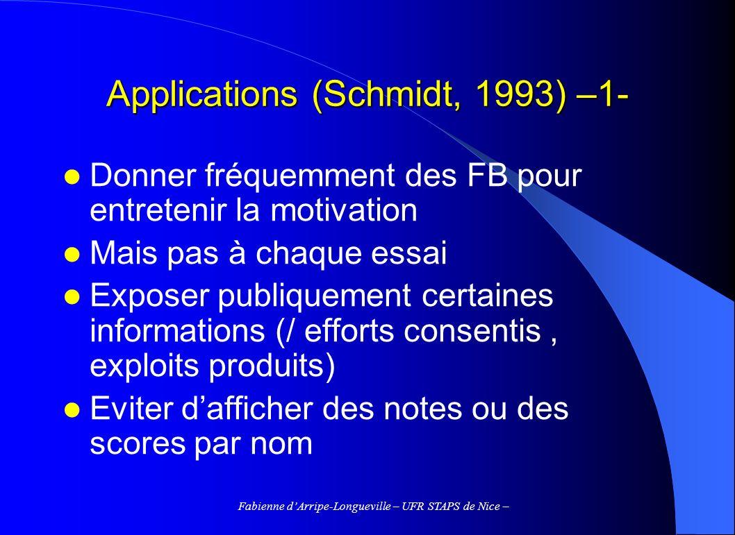 Fabienne dArripe-Longueville – UFR STAPS de Nice – Applications (Schmidt, 1993) –1- Donner fréquemment des FB pour entretenir la motivation Mais pas à