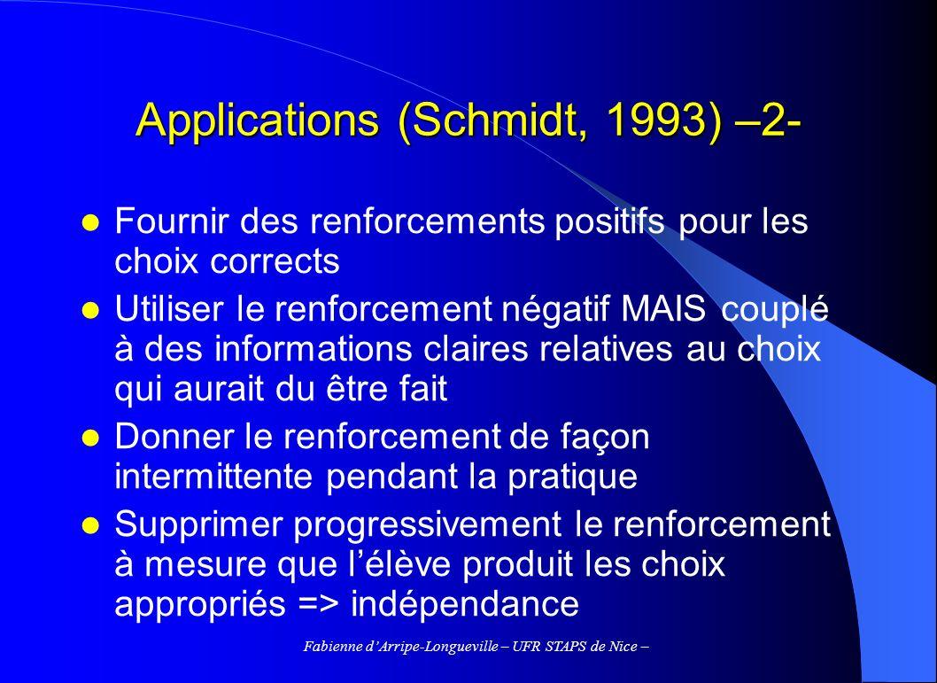 Fabienne dArripe-Longueville – UFR STAPS de Nice – Applications (Schmidt, 1993) –2- Fournir des renforcements positifs pour les choix corrects Utilise