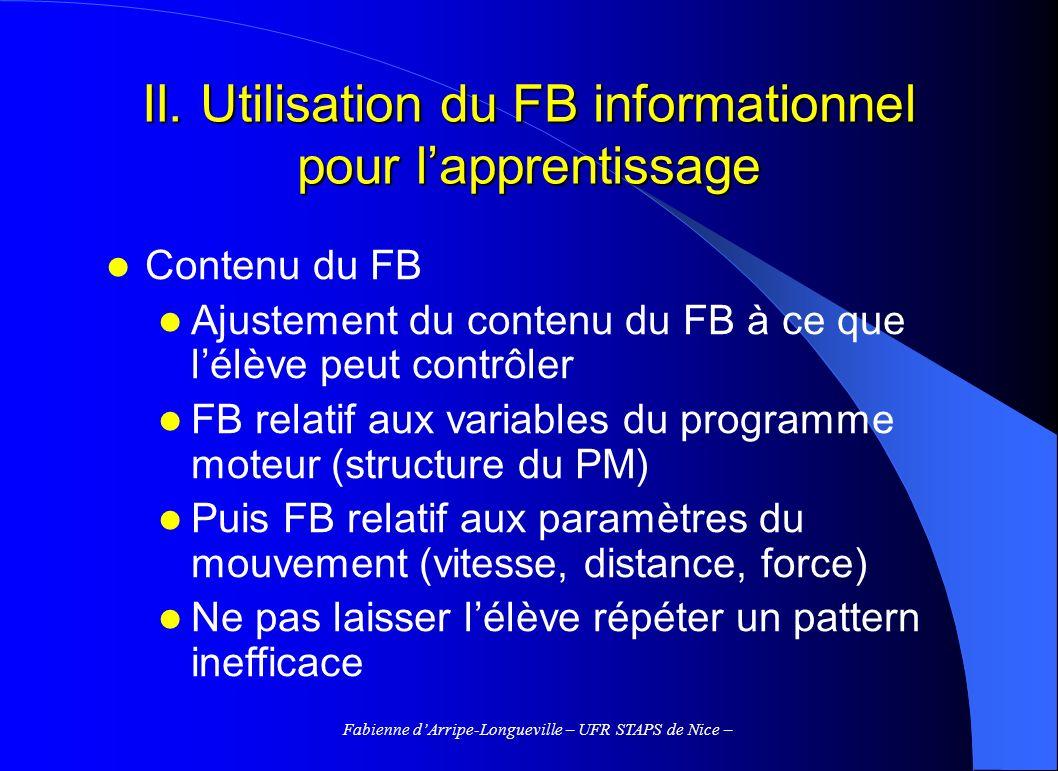 Fabienne dArripe-Longueville – UFR STAPS de Nice – II. Utilisation du FB informationnel pour lapprentissage Contenu du FB Ajustement du contenu du FB