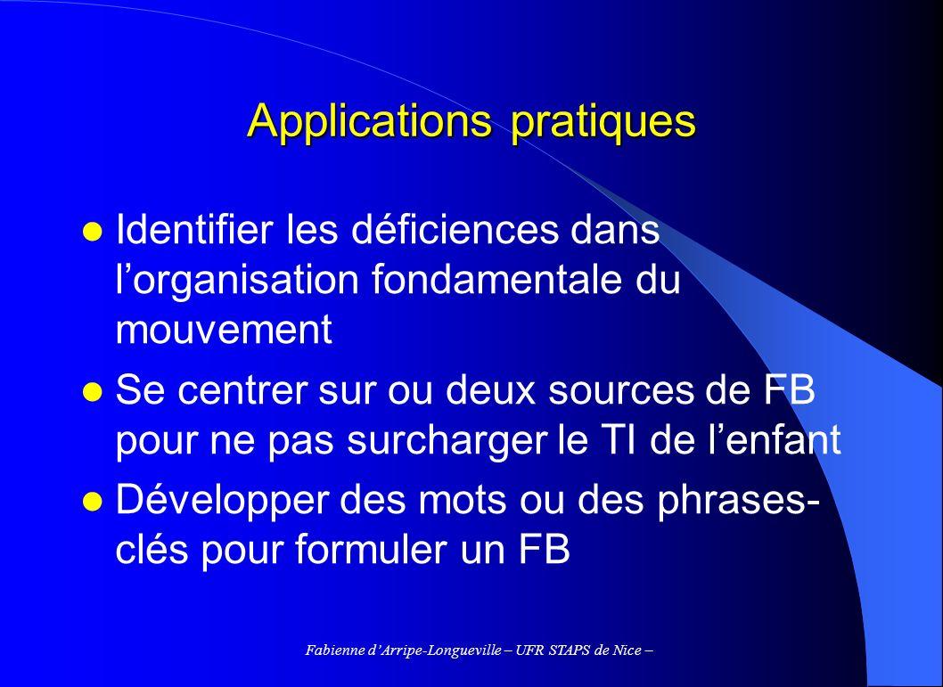 Fabienne dArripe-Longueville – UFR STAPS de Nice – Applications pratiques Identifier les déficiences dans lorganisation fondamentale du mouvement Se c