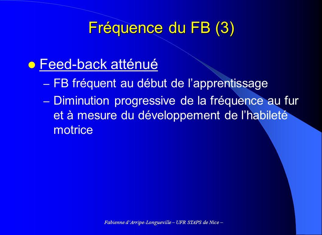 Fabienne dArripe-Longueville – UFR STAPS de Nice – Fréquence du FB (3) Feed-back atténué – FB fréquent au début de lapprentissage – Diminution progres