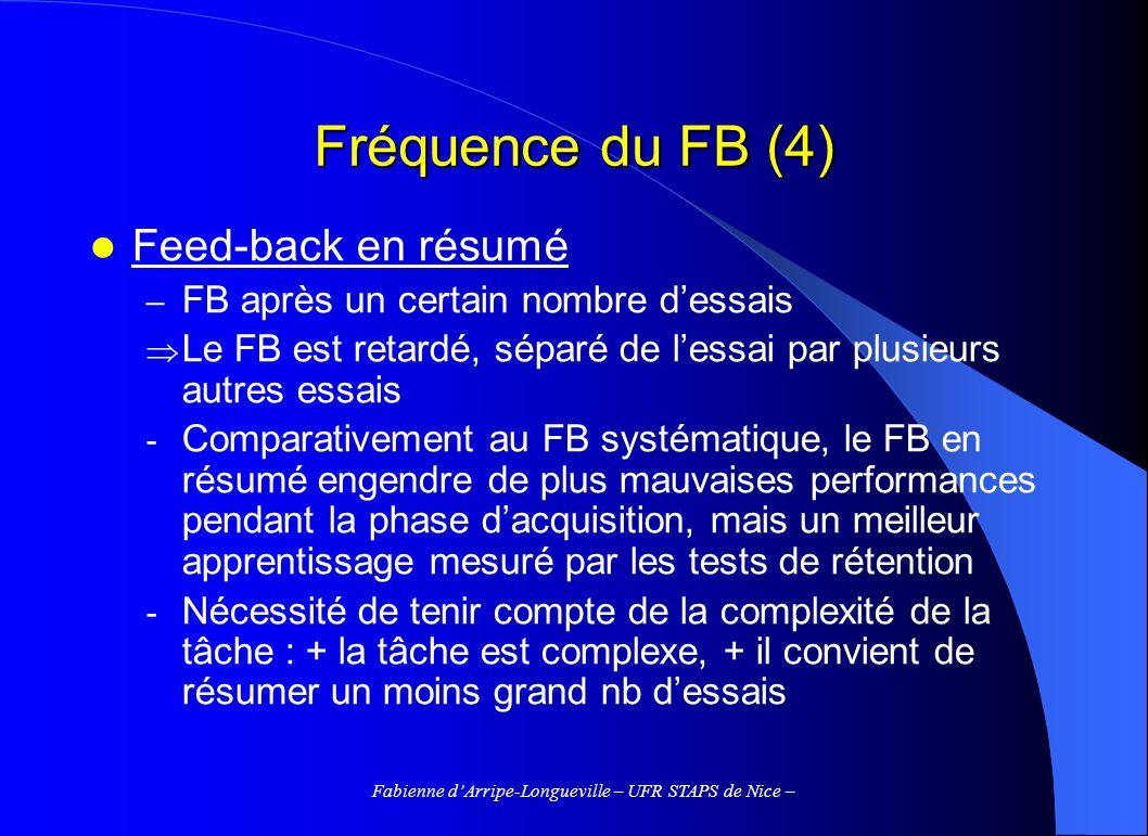 Fabienne dArripe-Longueville – UFR STAPS de Nice – Fréquence du FB (4) Feed-back en résumé – FB après un certain nombre dessais Le FB est retardé, sép