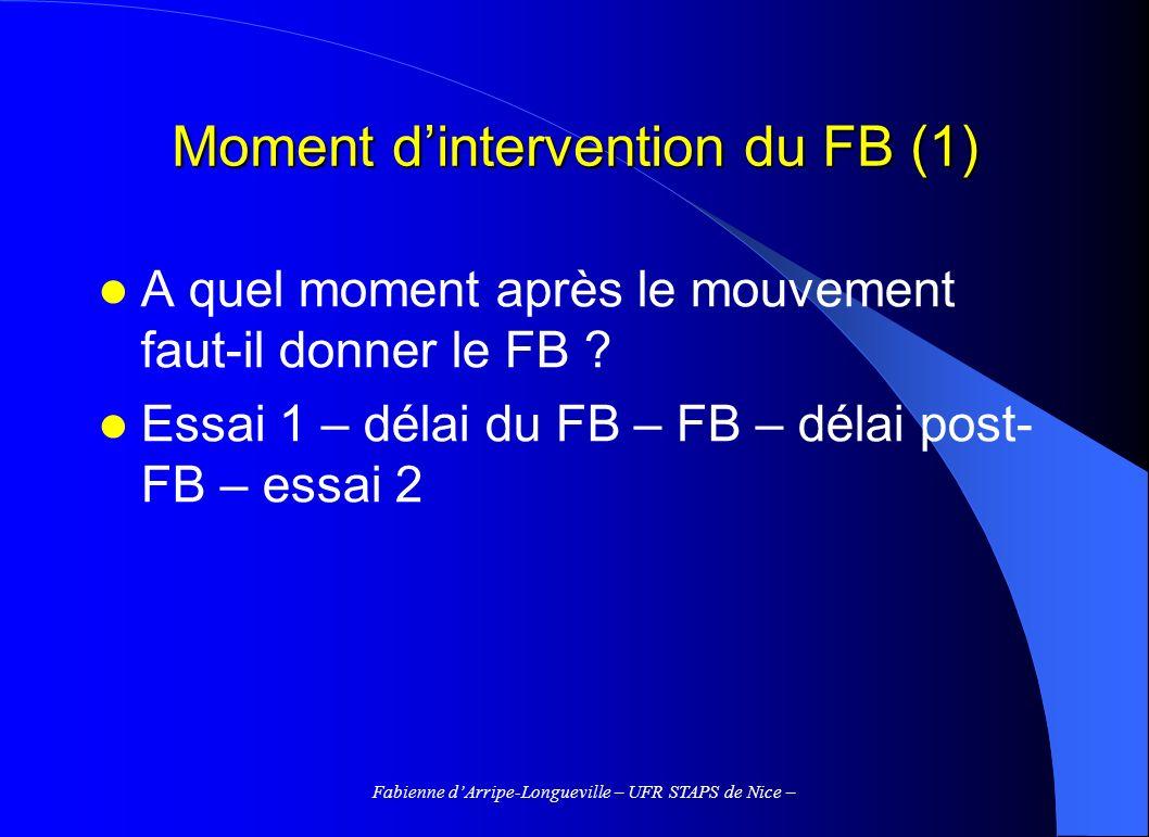 Fabienne dArripe-Longueville – UFR STAPS de Nice – Moment dintervention du FB (1) A quel moment après le mouvement faut-il donner le FB ? Essai 1 – dé