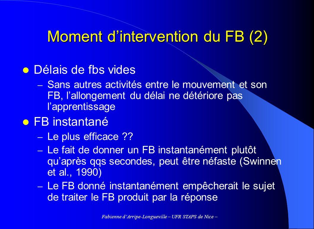 Fabienne dArripe-Longueville – UFR STAPS de Nice – Moment dintervention du FB (2) Délais de fbs vides – Sans autres activités entre le mouvement et so