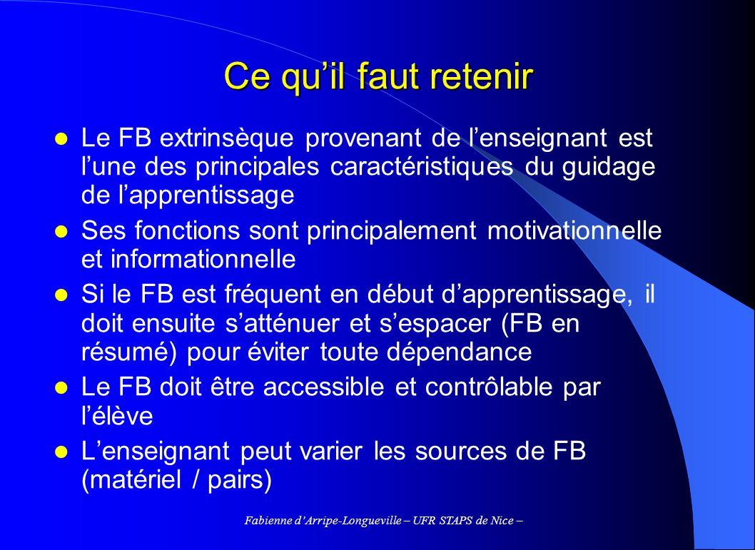 Fabienne dArripe-Longueville – UFR STAPS de Nice – Ce quil faut retenir Le FB extrinsèque provenant de lenseignant est lune des principales caractéris
