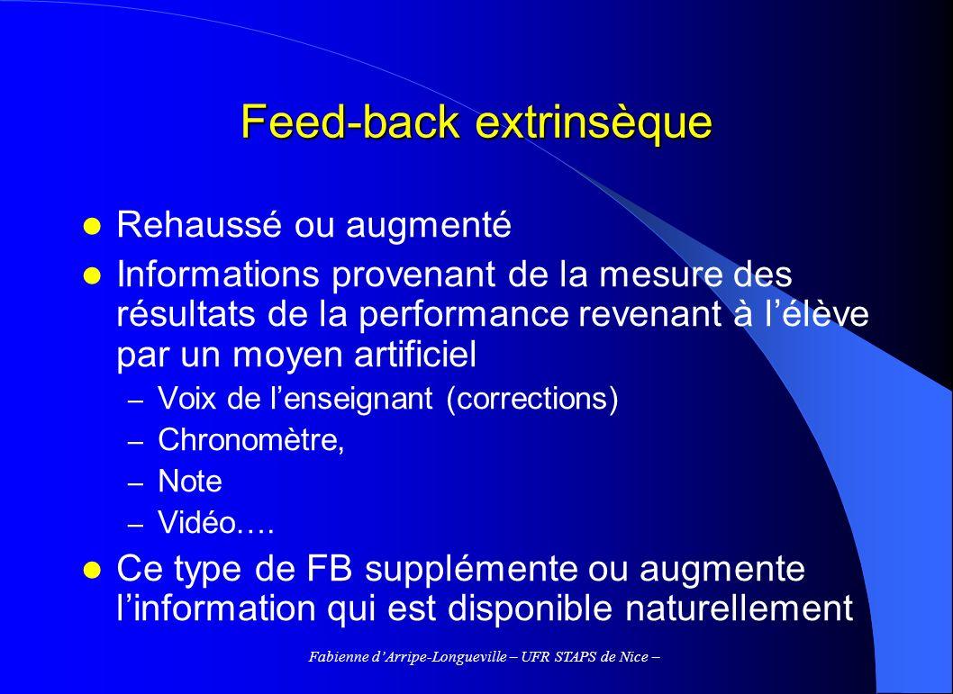 Fabienne dArripe-Longueville – UFR STAPS de Nice – Feed-back extrinsèque Rehaussé ou augmenté Informations provenant de la mesure des résultats de la