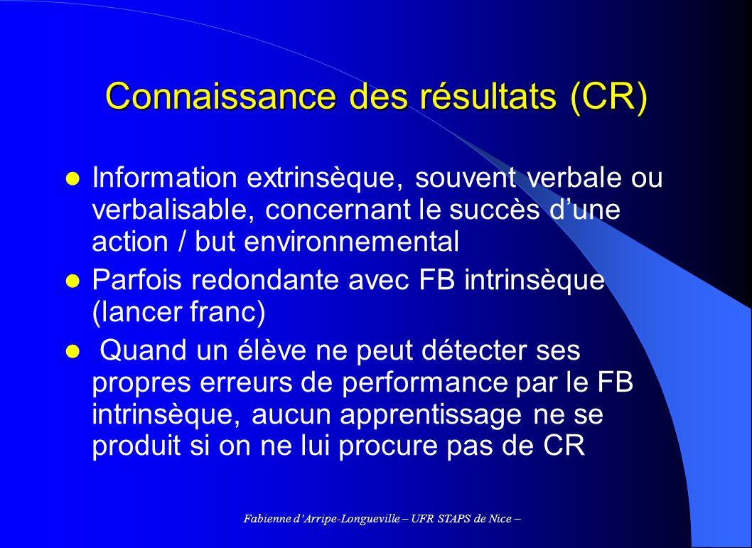 Fabienne dArripe-Longueville – UFR STAPS de Nice – Connaissance des résultats (CR) Information extrinsèque, souvent verbale ou verbalisable, concernan