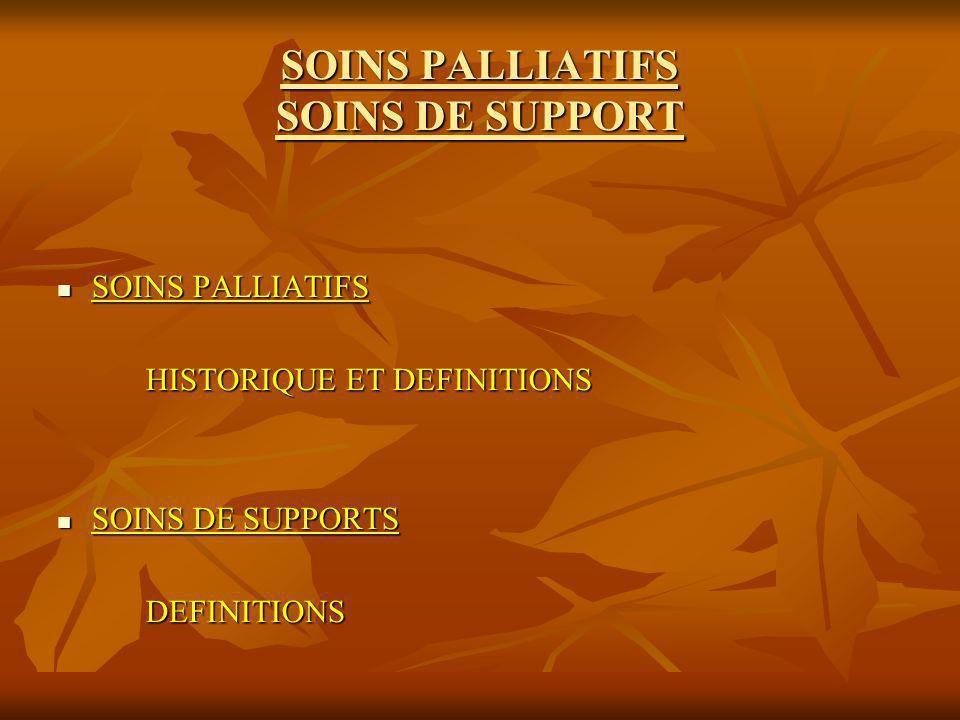 SOINS PALLIATIFS SOINS DE SUPPORT SOINS PALLIATIFS SOINS PALLIATIFS HISTORIQUE ET DEFINITIONS HISTORIQUE ET DEFINITIONS SOINS DE SUPPORTS SOINS DE SUP