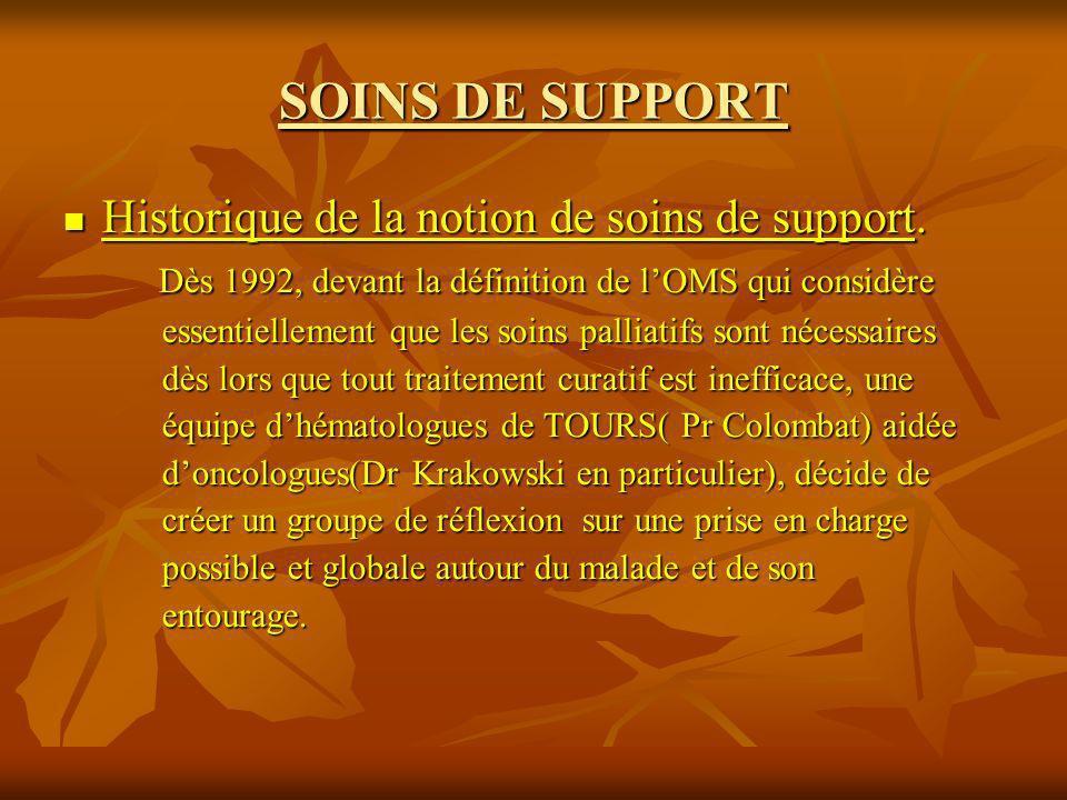 SOINS DE SUPPORT Historique de la notion de soins de support. Historique de la notion de soins de support. Dès 1992, devant la définition de lOMS qui
