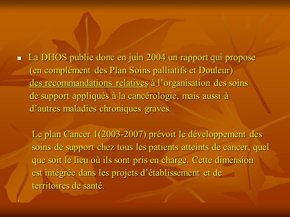 La DHOS publie donc en juin 2004 un rapport qui propose La DHOS publie donc en juin 2004 un rapport qui propose (en complément des Plan Soins palliati