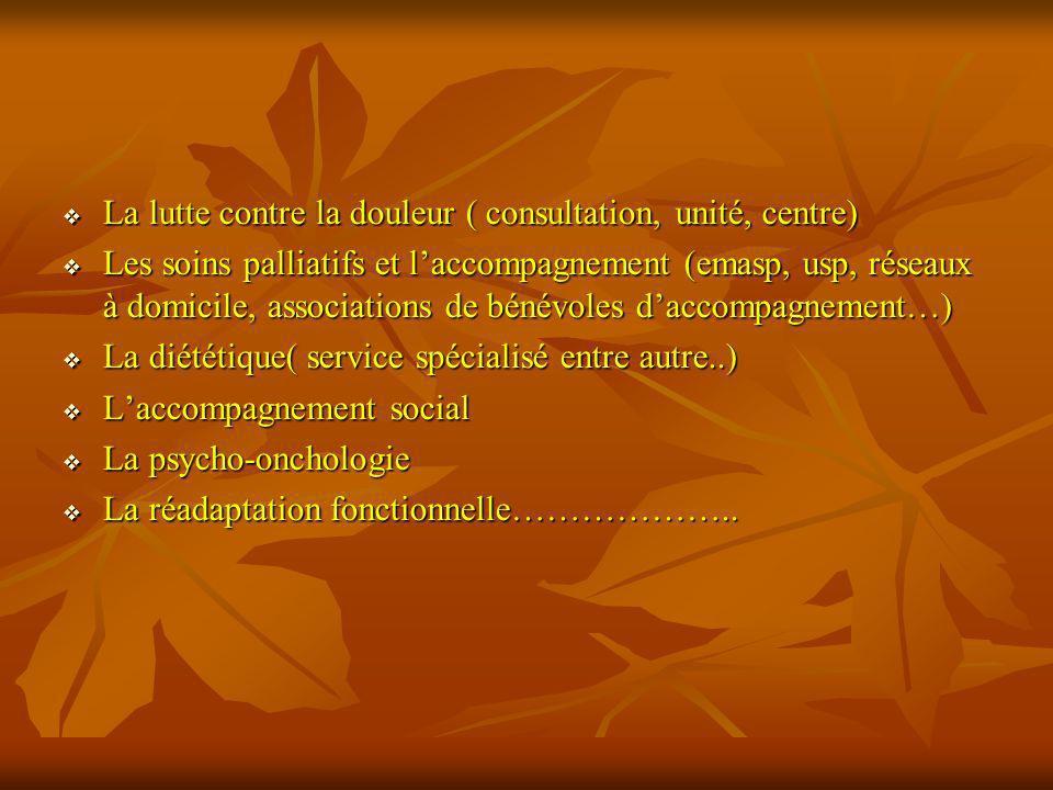 La lutte contre la douleur ( consultation, unité, centre) La lutte contre la douleur ( consultation, unité, centre) Les soins palliatifs et laccompagn