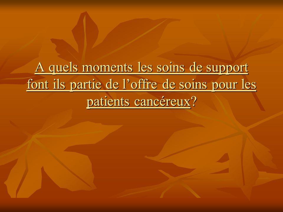 A quels moments les soins de support font ils partie de loffre de soins pour les patients cancéreux?