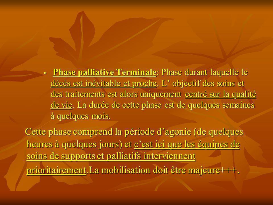 Phase palliative Terminale: Phase durant laquelle le décès est inévitable et proche. L objectif des soins et des traitements est alors uniquement cent