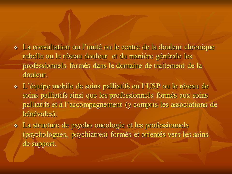 La consultation ou lunité ou le centre de la douleur chronique rebelle ou le réseau douleur et du manière générale les professionnels formés dans le d