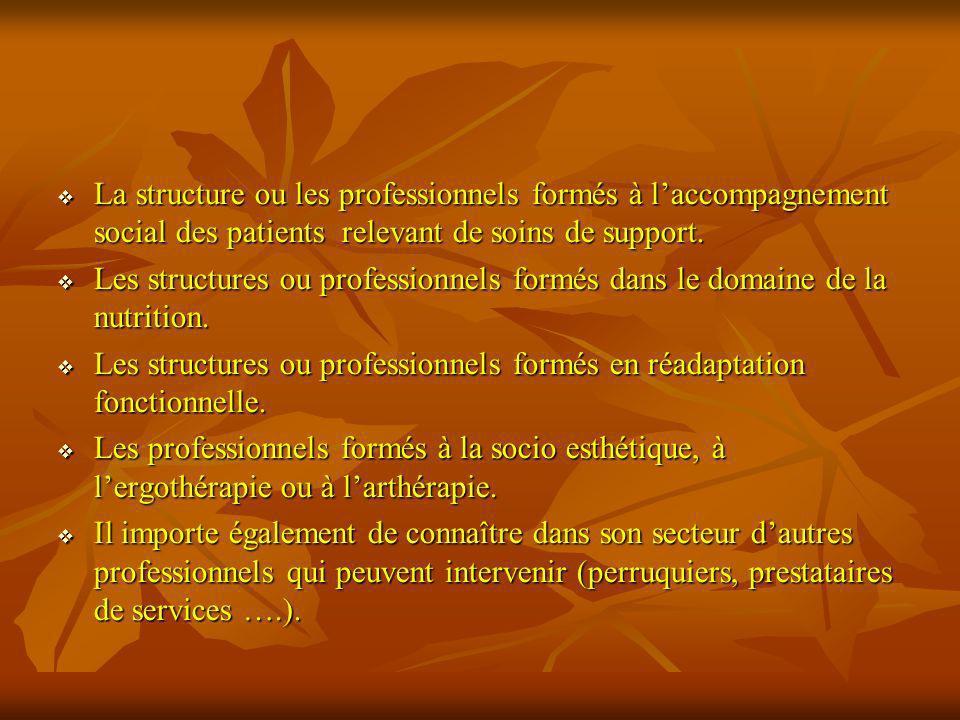 La structure ou les professionnels formés à laccompagnement social des patients relevant de soins de support. La structure ou les professionnels formé