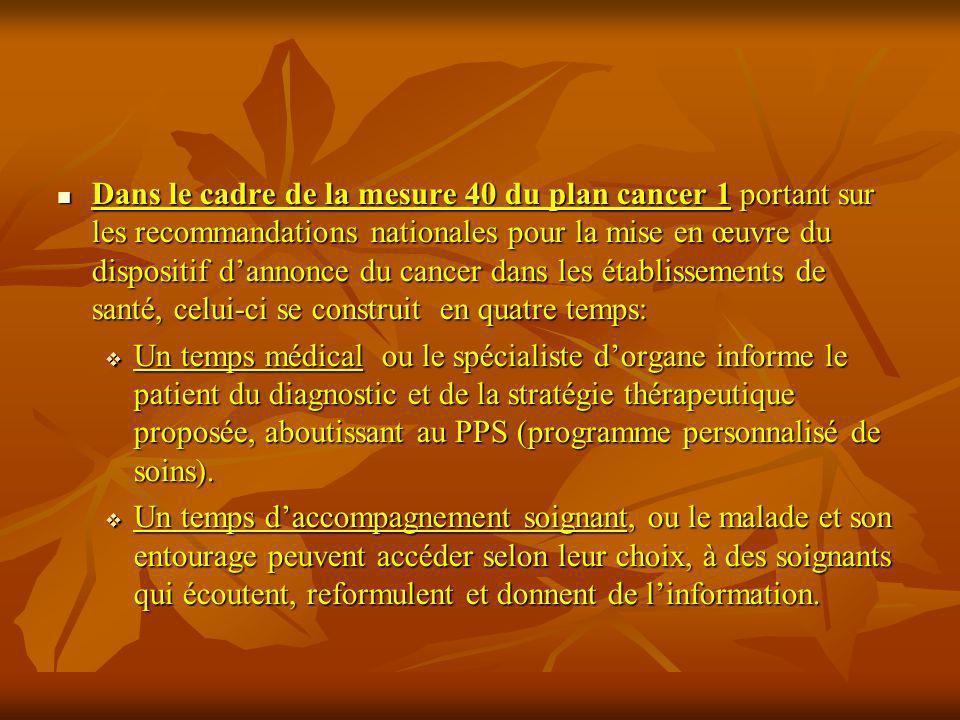 Dans le cadre de la mesure 40 du plan cancer 1 portant sur les recommandations nationales pour la mise en œuvre du dispositif dannonce du cancer dans