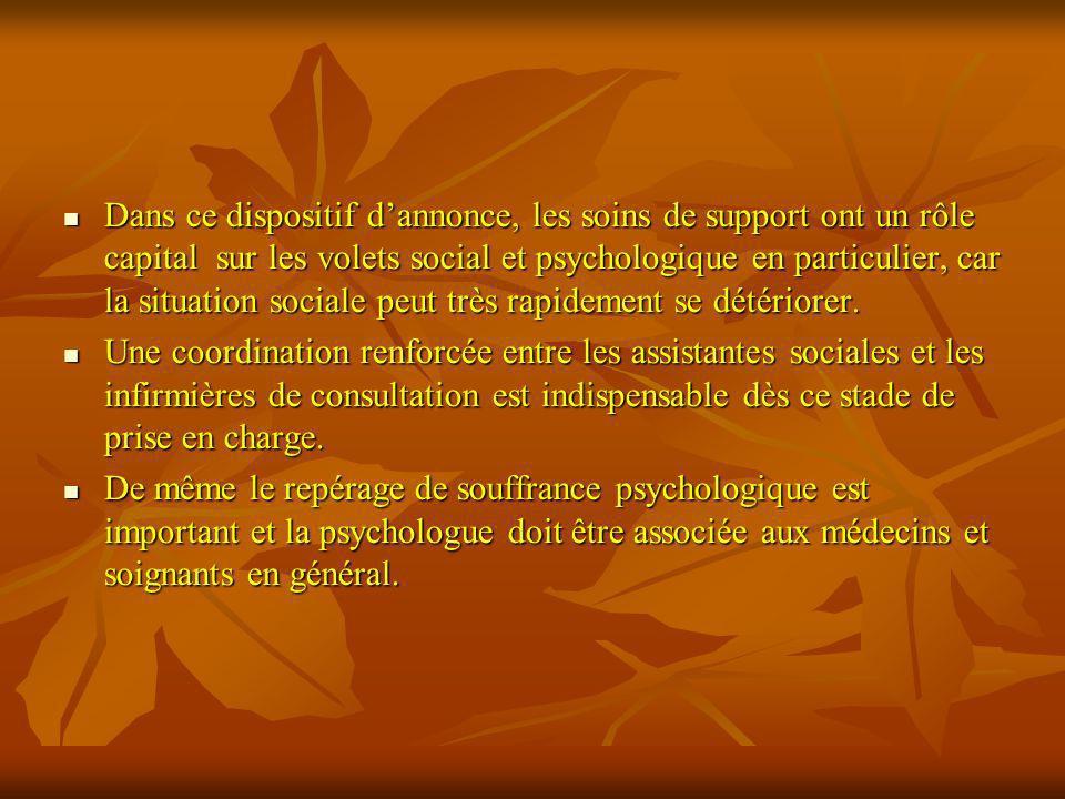 Dans ce dispositif dannonce, les soins de support ont un rôle capital sur les volets social et psychologique en particulier, car la situation sociale